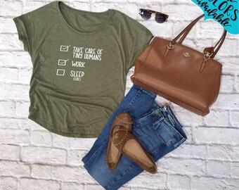 Motherhood Checklist Handlettered Dolman Shirt, Tee