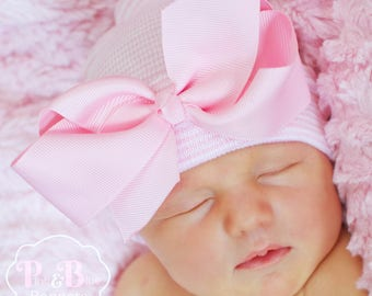 Baby Hospital hat with Bow, newborn hat with bow, newborn hospital hat with bow, baby girl hat with bow