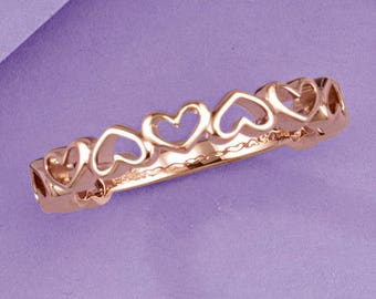 Romantic 14K Rose Gold Heart Design Anniversary Ring, Wedding Semi-Eternity Band, USA SZ 7