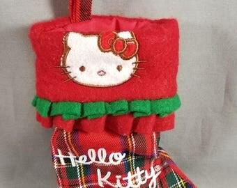 Hello Kitty ~ Red Plaid Stocking ~ Christmas Hello Kitty ~ Embroidered ~ Sock ~ Felt Cuff ~ Mini Christmas Stocking ~ My Nostalgic Life