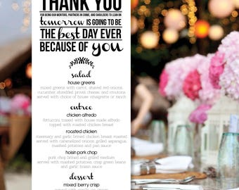 "Modern ""Thank You"" Rehearsal Dinner Menu (Price Per Menu, No Minimum Order)"