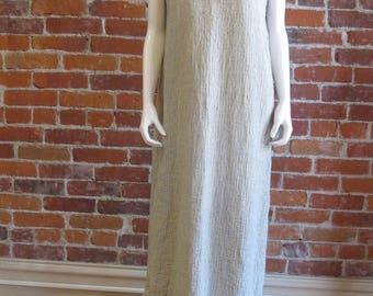 Vintage FLAX by Joanne Engelhart Linen Maxi Sleeveless Boho Wearable Art Women Dress Flax Linen clothing|FiberArtBoutique Upcycled Clothes