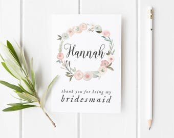 Thank You Bridesmaid Card, Card For Bridesmaid, Pretty Flower Girl Card, Maid Of Honor Card, Wreath Bridesmaid Card, Pretty Bridesmaid Card