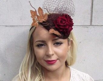 Brown Burgundy Red Rose Leaf Net Fascinator Headband Statement Races Vtg 3693