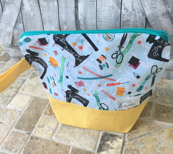 Project Bag,Small knitting Project bag,Vintage Sewing knitting bag,Sock Bag,crochet project bag,knitting bag,Toad Hollow Bags,Wedge Bag,