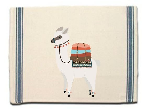 Alpaca with blankets Kitchen Towel,Dish Towel,Tea Towel,Flour Sack Material,Alpaca Dish Towels,Flour Sack Kitchen Towel,Whimsical Dish Cloth