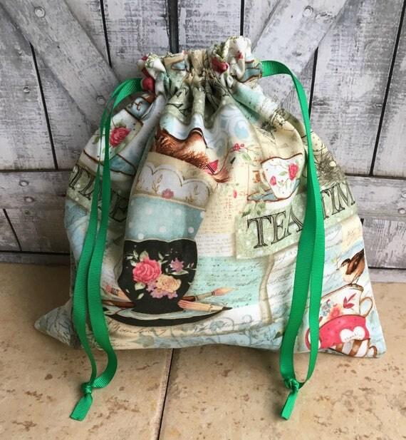 Knitting Project Bag|Tea Time Yarn Sack|Project Bag|Crochet Project Bag|Knitting Bag|Crochet Bag|Toad Hollow Bag