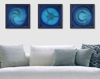 Wall Decor for Home or Office, 3D Zen Abstract String Art, Blue and Turquoise, Beautiful Sacred Geometry, a special Gift, 3 pictures framed