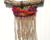 Upcycled Woven Wall Hanging with Fringe in Fall Colors, Russet Orange Weaving with Upcycled Fabrics, Boho Wall Décor, Woven Wall Hanging