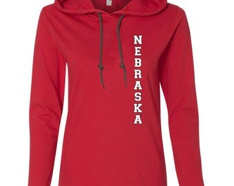 Women's Vertical NEBRASKA Long Sleeve Hooded Tee Shirt Hoody With Relaxed Unlined Hood With Contrasting Drawcord