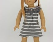 Handmade 18 inch doll clothes - Gray and white dress and belt (839)