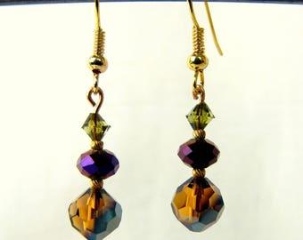 Handcrafted Crystal Drop Earrings Amber Brown, Rich Purple, Peridot Green Earrings ~ Gold Tone Fish Hooks
