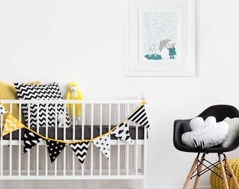 Dog Illustration, Little Girl Art, Nursery Print, Kids Room, Playroom Wall Art, Wall Decor, Animal Art, Mid Century Drawing, Cute Picture