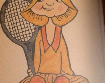 Small Retro Framed Vintage Tennis Player Colored Drawing Signed HW