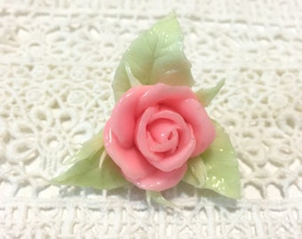 Fluorescent clay rose brooch