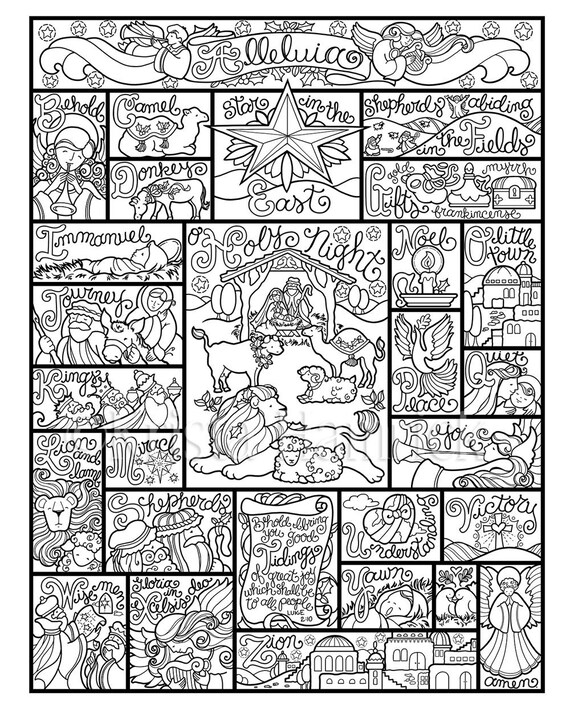 Nativity Alphabet Coloring Page In Three Sizes 8 5x11 8x10