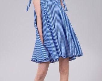 Baby doll striped dress / Summer cotton woman's dress / Full circle light dress / Fashion blue tent dress / Fasada 17100