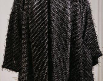 Woman oversized wool cardigan / Lagenlook textured ragged coat / Plus size pocket woman soft jacket / Winter fashion cardigan / Fasada 1688