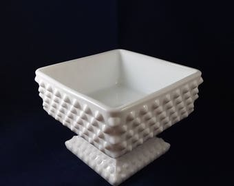 Fenton Square Hobnail Footed Candy Dish
