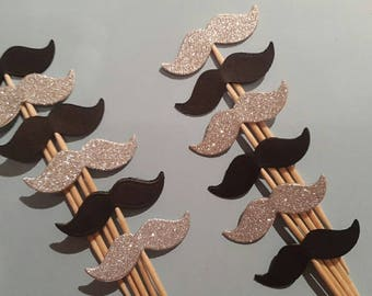 Moustache Cupcake Toppers / Picks - 12 Double Sided Silver and Black