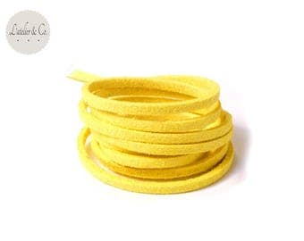 1 m yellow 3 mm x 1.5 mm suede cord