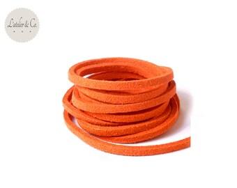 1 m ORANGE 3 mm x 1.5 mm suede cord