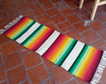 Handwoven stripes rug - made to order rug runner in yellow, orange, red and yellow palette with white and gray patterns