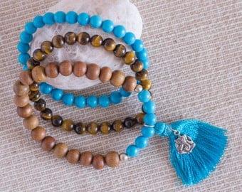 Raise your Vibration Mala Bracelet - Tiger Eye, Turquoise, Sandalwood and Silver Sterling Ganesha charm