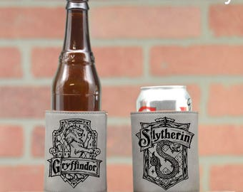 Harry Potter Leather Can Coolers | Harry Potter House Crests. Gryffindor. Slytherin. Ravenclaw. Hufflepuff. Can Coolers. Harry Potter Gift