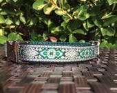 """Celtic Dog Collar - 3/4"""" Green, Black and Silver Celtic Adjustable Dog Collar with Metal Buckle and Green Nylon Webbing"""