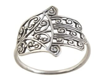 Sterling Silver Ring, Silver Hamsa Ring, Silver Big Ring, Ethnic Jewelry, Tribal Ring, Oxidized Silver Ring, Spiral Ring, Luck Jewelry