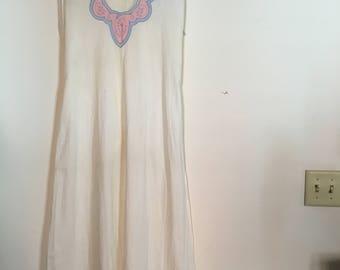 Vintage Early 1920s Cotton Slip - Embroidered 1920s Slip - White Cotton Maxi Dress