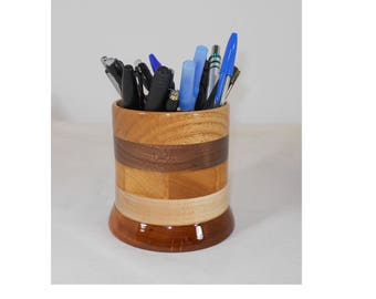 Wood Pencil Holder, Wooden Pen Cup, Office Desk Organizer (#142)