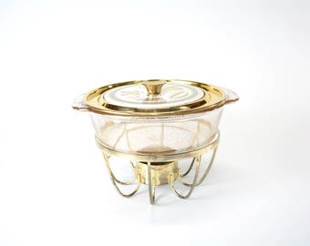 Georges Briard Shells Casserole Chafing Dish - Mid Century - Fire-King Gold Fleck Dish - Vintage - 1950s - 1960s
