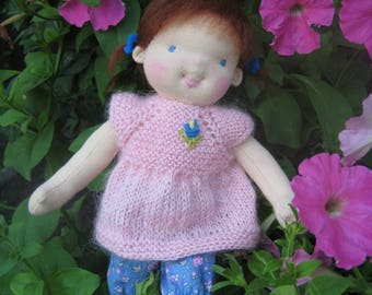 """Waldorf doll 11"""", waldorf fabric doll, steiner doll, cloth doll, gift for girl, organic doll, waldorf toy"""