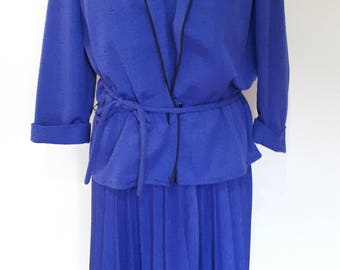 Vintage dress suit  80s by Canda blue dress pleated with matching Jacket Size large - extra large