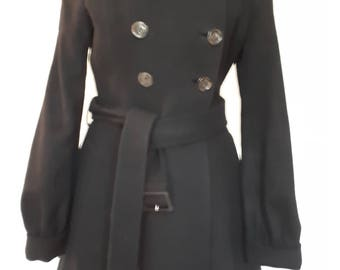 Vintage 90s coat by Paul Smith cashmere wool mix black coat double breasted  with faux fur collar size XS to Small