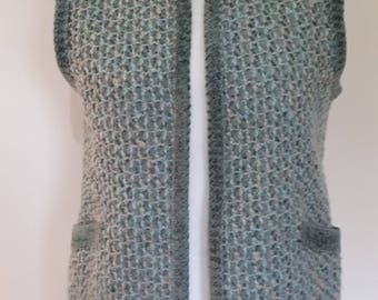 Vintage waistcoat jacket cardigan by St Michael Made in United Kingdom green wool mix Knitted vest size medium
