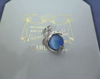 Unique dolphin charm or pendant - 925 - sterling silver - blue