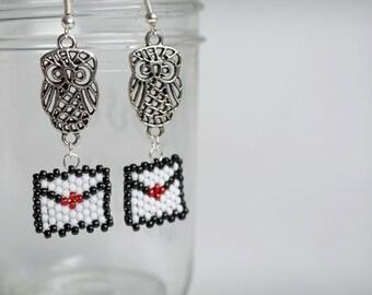 Hogwarts Letter Earrings,Harry Potter Earrings, Owl Earrings, Hogwarts Acceptance Letters, Harry Potter Fan Jewelry, Hogwarts Owl, Owl Post