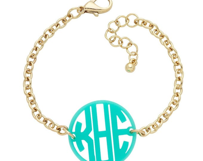 Monogrammed Bracelet, Silver or Gold with Colored Acrylic Disc, Script or Circle Monogram Style, 7-8 inches, Choose Your Color Monogram