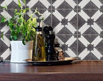 Tile Decals - Tiles for Kitchen/Bathroom Back splash - Floor decals - Moroccan Encaustic Ciment Carreaux Riad Tile Sticker Pack Charcoal