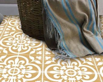 SALE!! Vinyl Floor Tile Sticker - Floor decals - Carreaux Ciment Encaustic Corona Tile Sticker Pack in Golden