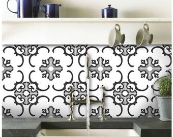 Kitchen and Bathroom Splashback - Removable Vinyl Wallpaper - Milano Black and White - Peel & Stick