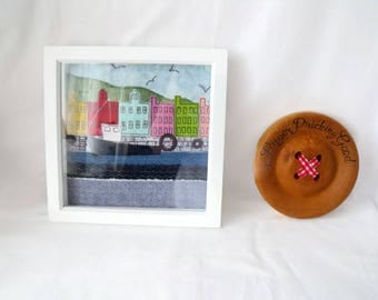 Tobermoray collage, Scottish wall art, harbour picture, framed mixed media, colourful houses, 8 x 8 inches