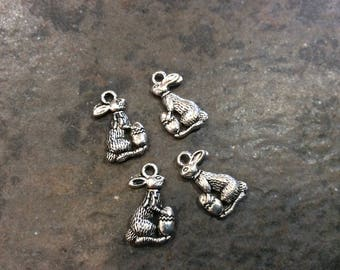 Easter Bunny Charms with Easter Egg detail package of 4 antique silver charms  Spring charms Easter charms