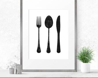 Kitchen art print, Cutlery set print, Scandinavian print, Kitchen printable, Minimalist print, Housewares wall art, Kitchen poster