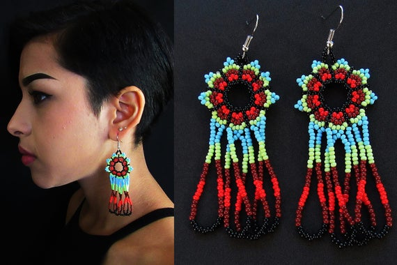 Huichol Earrings, Native American Beaded Earrings, Huichol Jewelry, Huichol Beadwork, Mexican Beaded Earrings, Seed Bead Earrings, Sky Blue