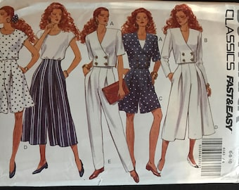 Butterick 6163 - 1990s Double Breasted Jacket, Top, Split Skirt, and Pants - Size 6 8 10