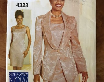 See & Sew 4323 - Princess Seamed Jacket with Shawl Collar and Sheath Style Dress - Size 6 8 10 or 18 20 22